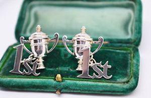 【送料無料】メンズアクセサリ― ビンテージスターリングシルバートロフィーデザインカフリンクスvintage sterling silver cufflinks with a unique trophy 1st design b210