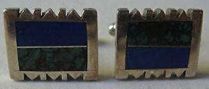【送料無料】メンズアクセサリ― ビンテージスターリングシルバーグリーンカフリンクスsigned vintage sterling silver inlaid green amp; blue polished stone cufflinks