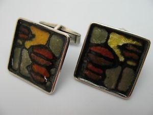 【送料無料】メンズアクセサリ― ヴィンテージカフスボタンシルバーエナメルkug rare beautiful vintage cufflinks from 925 silver with enamel