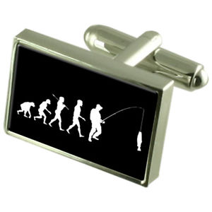 【送料無料】メンズアクセサリ― スターリングシルバーカフスボタンevolution ape to man fishing sterling silver 925 cufflinks boxed