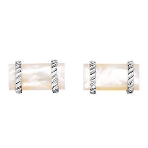 【送料無料】メンズアクセサリ― スターリングカフリンクスsterling silver mother of pearl rectangular cufflinks