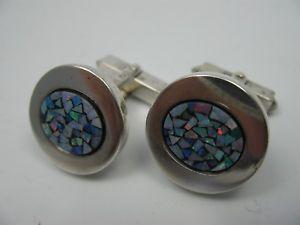 【送料無料】メンズアクセサリ― ヴィンテージデザイナーカフスボタンシルバーオパールperli beautiful vintage designer cufflinks 835 silver with opal