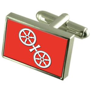 【送料無料】メンズアクセサリ― マインツシティドイツスターリングシルバーフラグカフスボタンボックスmainz city germany sterling silver flag cufflinks engraved box