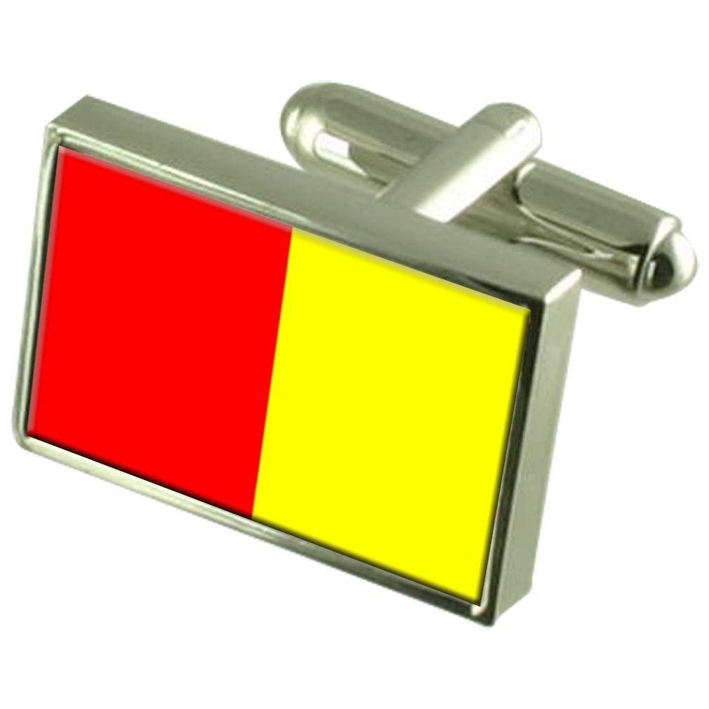 【送料無料】メンズアクセサリ― グルノーブルフランススターリングシルバーフラグカフスボタンボックスgrenoble city france sterling silver flag cufflinks engraved box