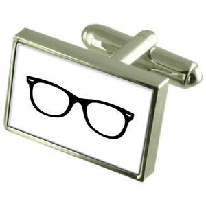 【送料無料】メンズアクセサリ― メガネスターリングシルバーカフスボタンglasses spectacles sterling silver 925 cufflinks boxed