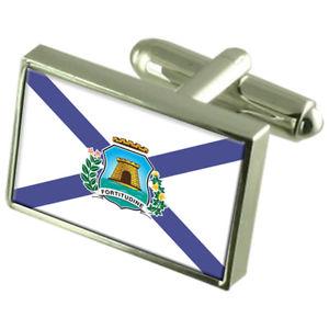 【送料無料】メンズアクセサリ― フォルタレザブラジルスターリングシルバーフラグカフスボタンボックスfortaleza city brazil sterling silver flag cufflinks engraved box