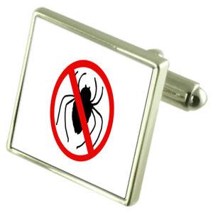 【送料無料】メンズアクセサリ― クモスターリングシルバーカフリンクスオプションサインインボックスaracnophobia spider sign sterling silver cufflinks optional engraved box