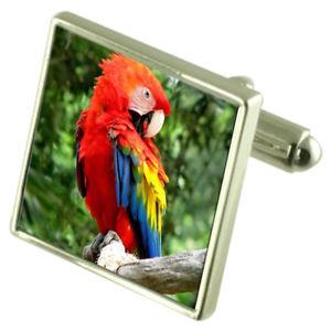 【送料無料】メンズアクセサリ― コンゴウインコオウムスターリングシルバーカフリンクスオプションボックスオンscarlet macaw parrot sterling silver cufflinks optional engraved box