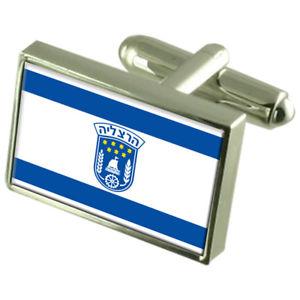 【送料無料】メンズアクセサリ― ヘルツェリヤイスラエルスターリングシルバーフラグカフスボタンボックスherzliya city israel sterling silver flag cufflinks engraved box