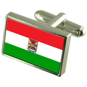 【送料無料】メンズアクセサリ― エクアドルスターリングシルバーフラグカフスボタンボックスazogues city ecuador sterling silver flag cufflinks engraved box