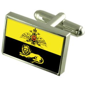Concepcion City Chile Gold-tone Flag Cufflinks Engraved Box