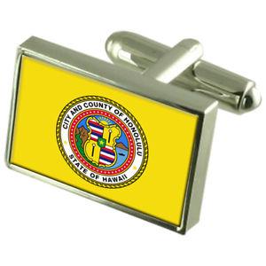【送料無料】メンズアクセサリ― ホノルルアメリカスターリングシルバーフラグカフスボタンボックスhonolulu city usa sterling silver flag cufflinks engraved box