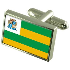 【送料無料】メンズアクセサリ― アラカジュブラジルスターリングシルバーフラグカフスボタンボックスaracaju city brazil sterling silver flag cufflinks engraved box