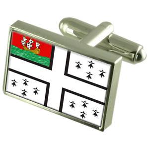 【送料無料】メンズアクセサリ― ナントフランススターリングシルバーフラグカフスボタンボックスnantes city france sterling silver flag cufflinks engraved box