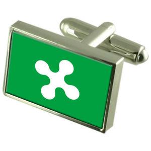 【送料無料】メンズアクセサリ― ロンバルディアイタリアスターリングシルバーフラグカフスボタンボックスlombardy region italy sterling silver flag cufflinks engraved box