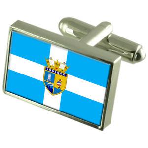 【送料無料】メンズアクセサリ― イキケチリスターリングフラグカフスリンクiquique city chile sterling silver flag cufflinks engraved box