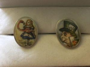 【送料無料】メンズアクセサリ― ソリッドシルバーハンドエナメルカフスボタングッズsolid silver hallmarked hand enamelled mad hatter cufflinks collectables