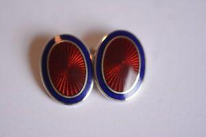 【送料無料】メンズアクセサリ― エナメルカフスボタンaspinal red with a blue border enamel cufflinks