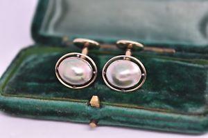 【送料無料】メンズアクセサリ― ヴィンテージゴールドアートブリスターパールデザイン#アールデコカフリンクスvintage 10ct gold art deco cufflinks with a blister pearl design 346g g35