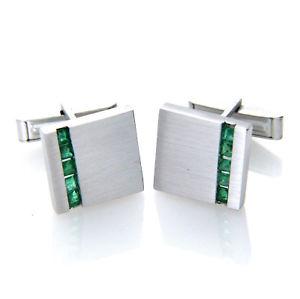 【送料無料】メンズアクセサリ― スターリングシルバースクエアリアルエメラルドカフスボタンメンズ925 sterling silver square real genuine emerald gemstone cufflinks mens gifts