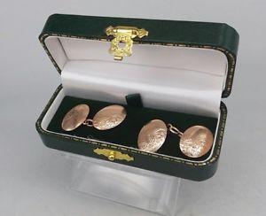 メンズアクセサリ— ゴールドダブルシールドカフスボタンローズ9ct rose gold double shield oval shield cufflinks not engraved