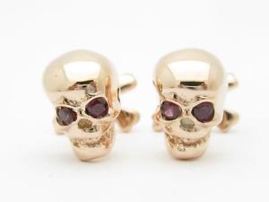 【送料無料】メンズアクセサリ― ローズゴールドスターリングシルバーカスタムハンドメイドスカルデザインカフスボタンrose gold sterling silver custom hand made 3d skull amp; bone design cufflinks gif