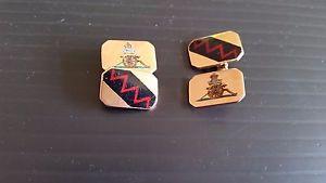 メンズアクセサリ— ヴィンテージカフロイヤルグラムエンブレムリンクvintage 9ct cuff links with the royal artillery emblem on themweight 11 grams