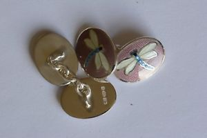メンズアクセサリ— スターリングシルバーエナメルカフリンクスsterling silver enameled  cufflinks