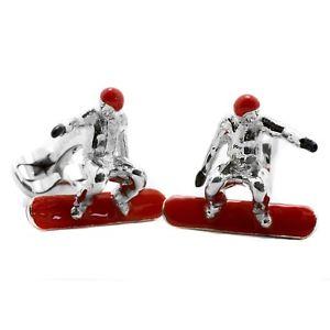 【送料無料】メンズアクセサリ― ディーキンフランシススターリングシルバーエナメルスノーボーダーカフスボタンスノーボードdeakin and francis sterling silver amp; enameled snowboarder cufflinks snowboar