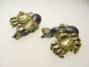 【送料無料】メンズアクセサリ― ビンテージブロンズゴールドエッグプラントカニカフリンクススターリングシルバーマウントrare vintage bronze gold menuki egg plant crab cufflinks sterling silver mounts