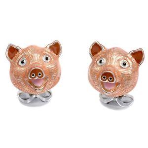 【送料無料】メンズアクセサリ― ディーキンフランシススターリングシルバーエナメルブタヘッドカフリンクスdeakin and francis sterling silver amp; enamel pig head cufflinks