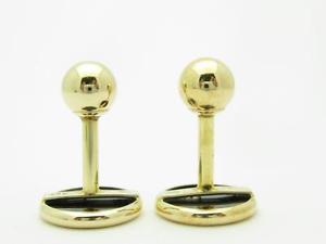 メンズアクセサリ— イエローゴールドブラックオニキスボタンデザインユニークビンテージカフリンクスブライダル