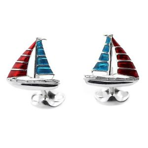 【送料無料】メンズアクセサリ― ディーキンフランシスシルバーエナメルヨットカフスボタンヨットdeakin and francis silver amp; enamel sailboat cufflinks sailing yacht
