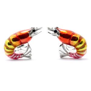 【送料無料】メンズアクセサリ― ディーキンフランシスシルバーエナメルエビカフスボタンエビdeakin and francis silver amp; enamel shrimp cufflinks prawn