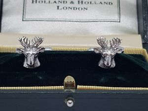【送料無料】メンズアクセサリ― オランダカフスボタンシルバーハンティング listingholland amp; holland cufflinks silver 925 shootinghunting stagstarnish free
