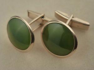 【送料無料】メンズアクセサリ― ソリッドゴールドカフリンク9k 9ct solid gold round jade cufflinks 20mm 1086g