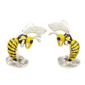 【送料無料】メンズアクセサリ― ディーキンフランシスシルバーエナメルスズメバチカフリンクスdeakin and francis silver amp; enamel hornet cufflinks