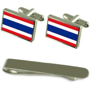 【送料無料】メンズアクセサリ― タイシルバーカフスボタンタイクリップセットthailand flag silver cufflinks tie clip engraved gift set