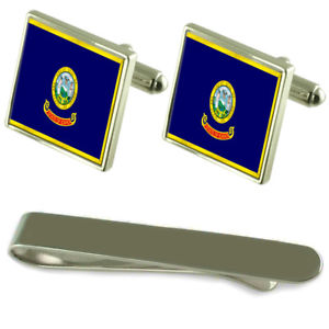 【送料無料】メンズアクセサリ― アイダホシルバーカフスボタンタイクリップセットidaho flag silver cufflinks tie clip engraved gift set