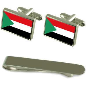 【送料無料】メンズアクセサリ― スーダンシルバーカフスボタンタイクリップセットthe sudan flag silver cufflinks tie clip engraved gift set