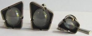bar ビンテージスターリングシルバーモダニストクォーツカボションカフスボタンタイバーセットvintage modernist amp; 【送料無料】メンズアクセサリ― tie sterling quartz silver cabochons cufflinks set