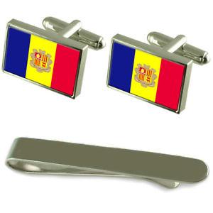 【送料無料】メンズアクセサリ― アンドラシルバーカフスボタンタイクリップセットandorra flag silver cufflinks tie clip engraved gift set