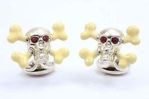 【送料無料】メンズアクセサリ― ディーキンフランシスシルバーエナメルスカルクロスボーンカフリンクスルビーdeakin and francis silver amp; enamel skull cross bone cufflinks ruby eyes