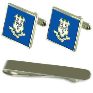 【送料無料】メンズアクセサリ― コネチカットシルバーカフスボタンタイクリップセットconnecticut flag silver cufflinks tie clip engraved gift set