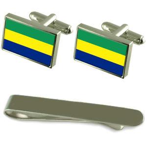 【送料無料】メンズアクセサリ― ガボンシルバーカフスボタンタイクリップセットgabon flag silver cufflinks tie clip engraved gift set