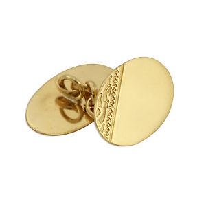 メンズアクセサリ— ゴールドカフリンクス9ct gold double sided engraved oval cufflinks