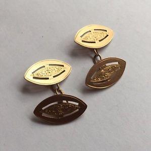 【送料無料】メンズアクセサリ― レッドローズゴールドチェーンカフリンクスカフスボタンhallmarked 9ct 9k red rose gold elliptical engraved chain cuff links cufflinks
