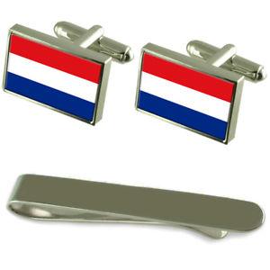 【送料無料】メンズアクセサリ― オランダシルバーカフスボタンタイクリップセットthe netherlands flag silver cufflinks tie clip engraved gift set