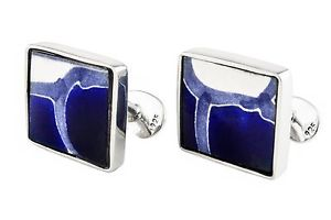 【送料無料】メンズアクセサリ― メキシコタイルアランスターリングシルバーカフリンクスmexican blue talavera tile set in sterling silver cufflinks by alan k thau
