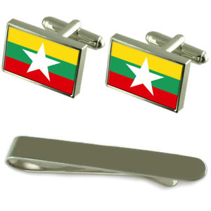 【送料無料】メンズアクセサリ― ミャンマーシルバーカフスボタンタイクリップセットmyanmar flag silver cufflinks tie clip engraved gift set